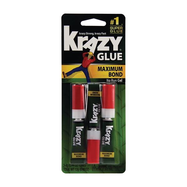 Picture of Krazy Glue Maximum Bond KG48812 Super Glue, Liquid, Irritating, Clear, 4 g Package, Tube