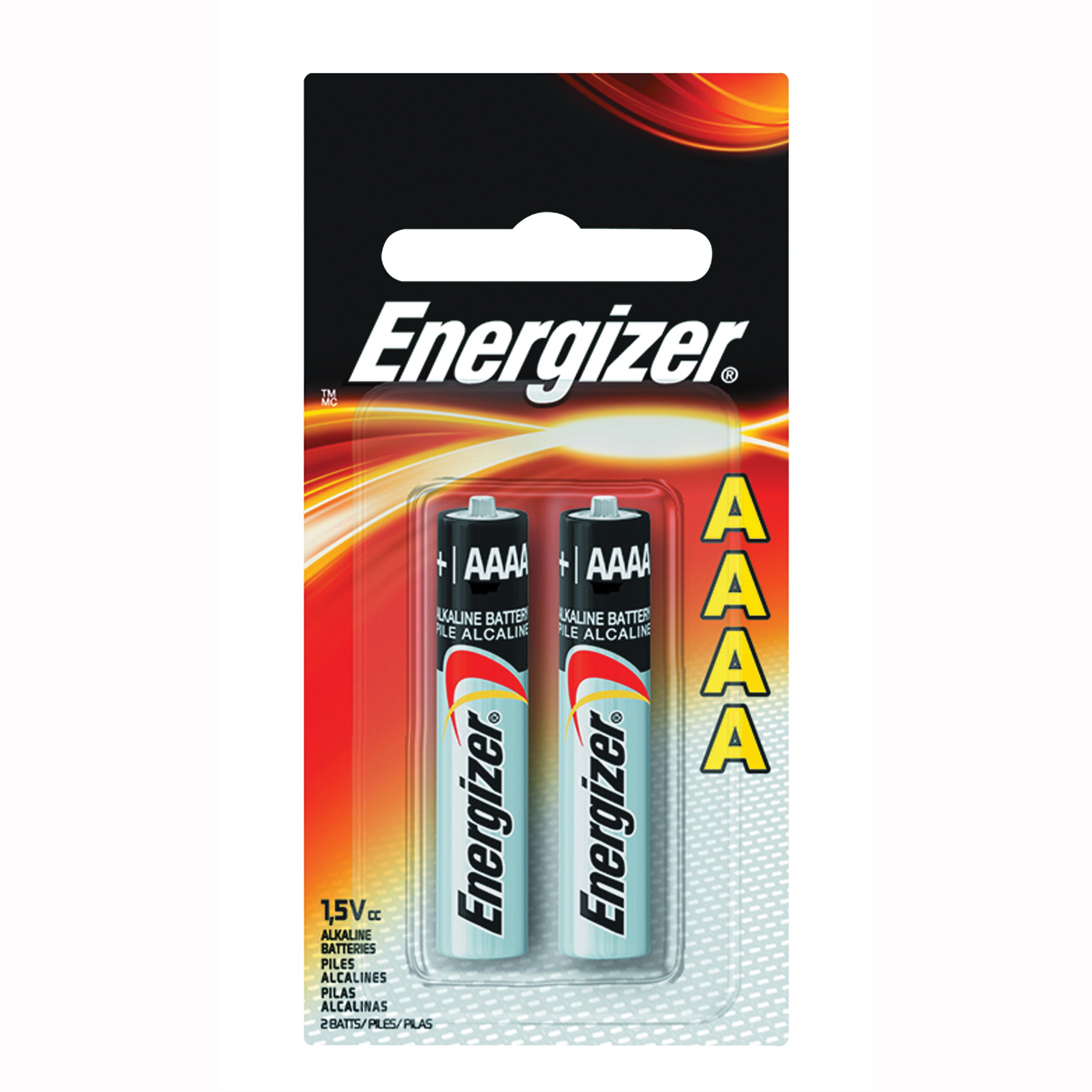 Picture of Energizer E96 Series E96-BP-2 Alkaline Battery, 1.5 V Battery, 150 mAh, AAAA Battery, Zinc, Manganese Dioxide