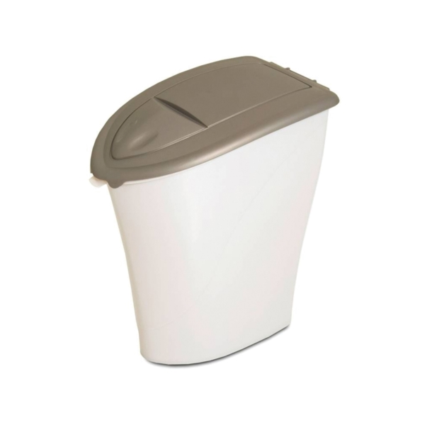 Picture of Aspenpet 24480 Eco-Friendly Kibble Keeper, 10 lb Capacity, Plastic, Pearl Tan/Pearl White, Snap-Tight Cover/Lid