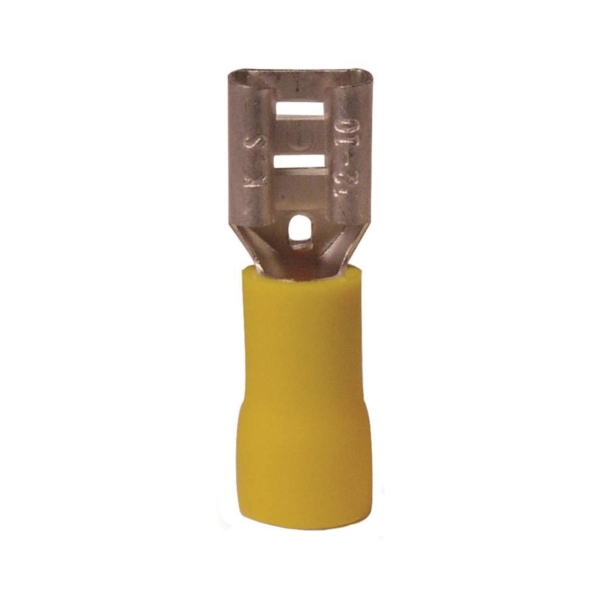 Picture of GB 20-145F Disconnect Terminal, 600 V, 12 to 10 AWG Wire, 1/4 in Stud, Vinyl Insulation, Yellow, 16/Clam