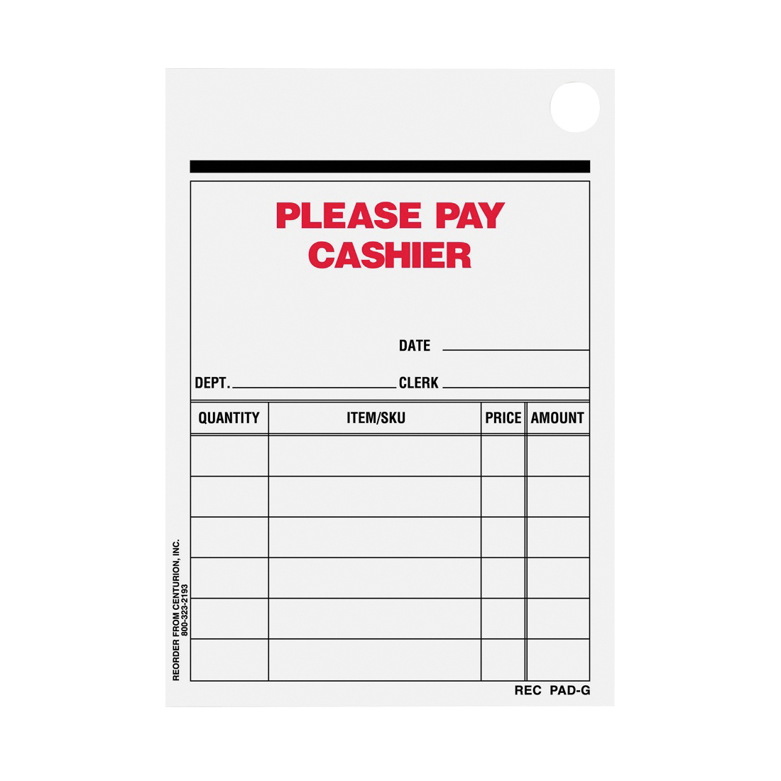 Picture of Centurion REC PAD-G Multi-Purpose Sales Slip Receipt Pad