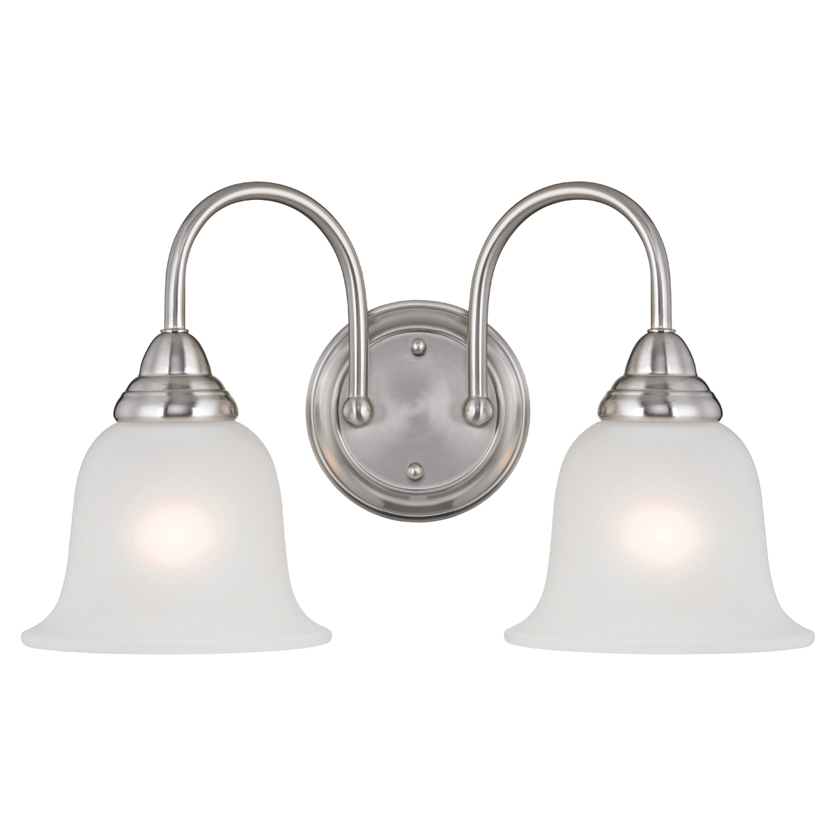 Picture of Boston Harbor LYB130928-2VL-BN Wall Sconce, 60 W, 2-Lamp, A19 or CFL Lamp, Steel Fixture, Brushed Nickel Fixture