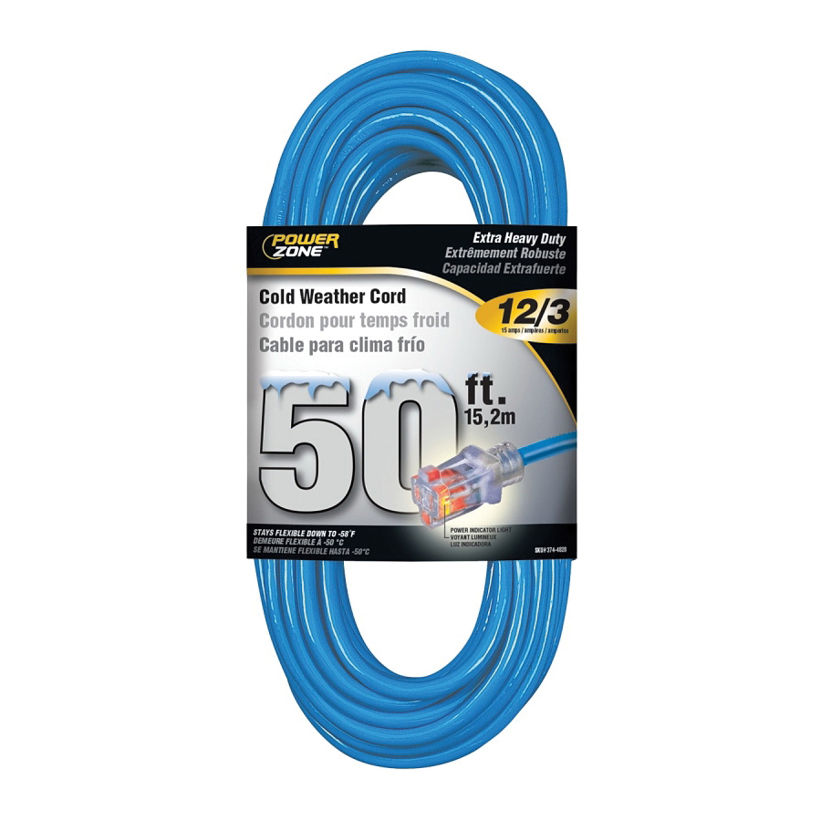 Picture of PowerZone ORCW511830 Extension Cord, 12 AWG Cable, 50 ft L, 15 A, 125 V, Blue Jacket
