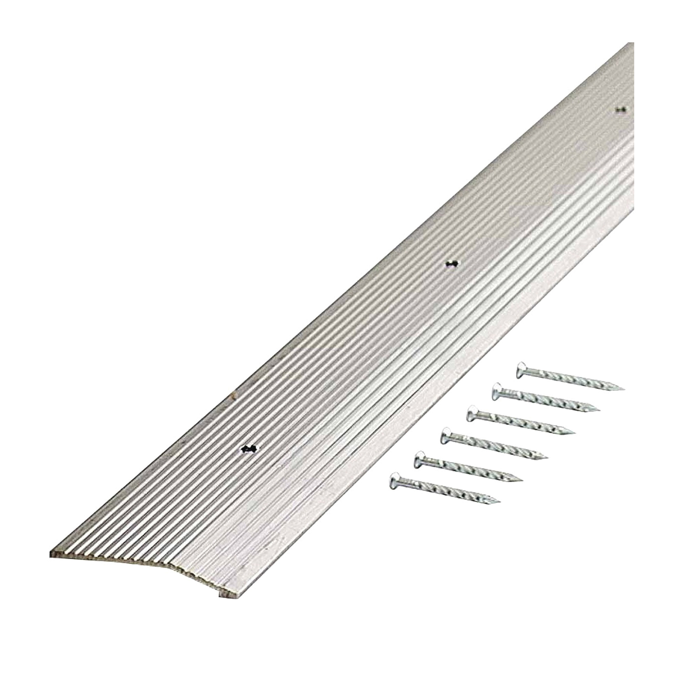 Picture of M-D 78220 Carpet Trim, 72 in L, 2 in W, Fluted Surface, Aluminum, Silver