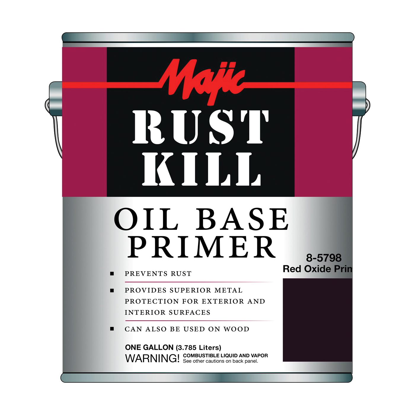 Picture of Majic Paints 8-5798-1 Rust-Preventative Primer, Matte, Red Oxide, 1 gal, Pail