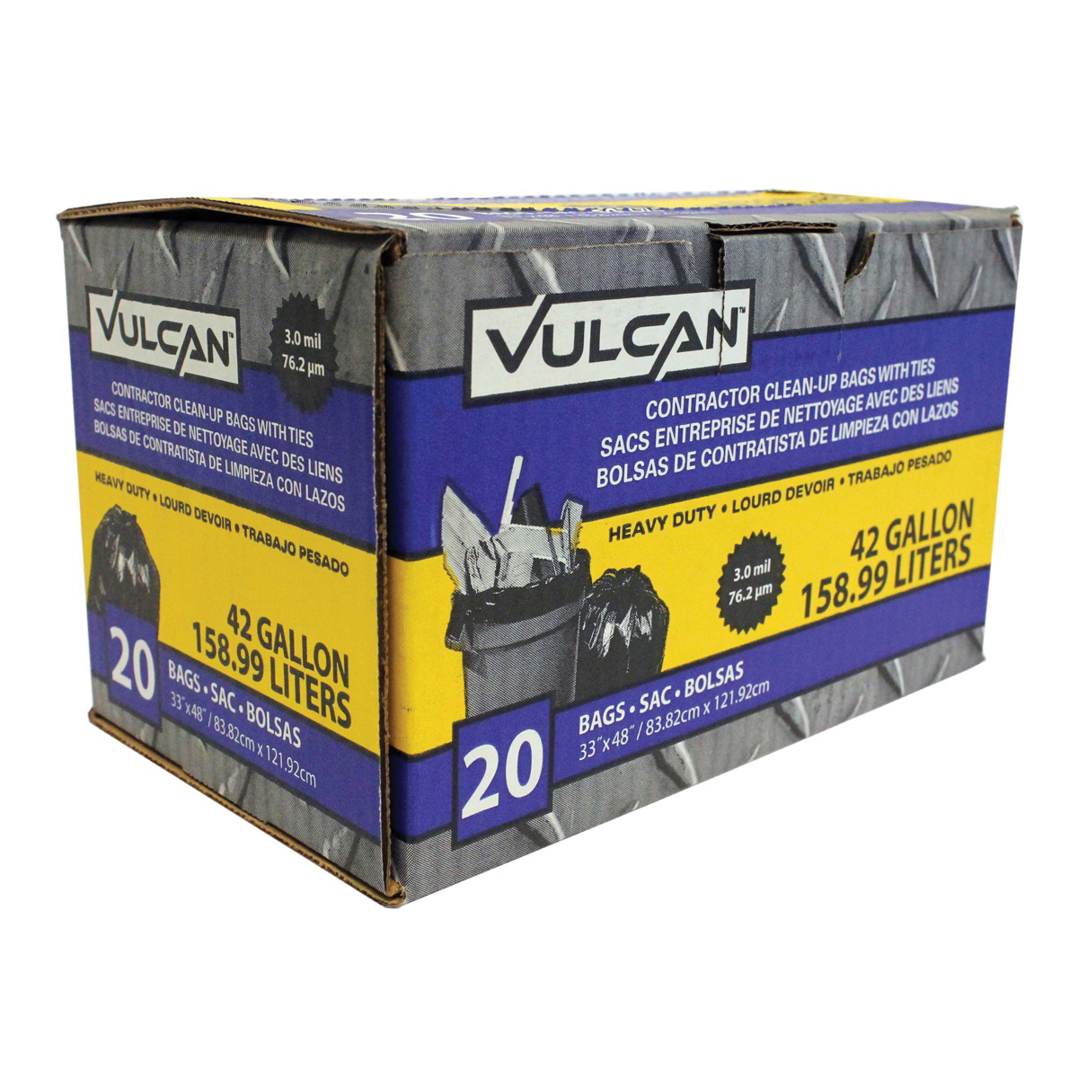 Picture of VULCAN FG-03812-07 Contractor Bag, 42 gal Capacity, Black
