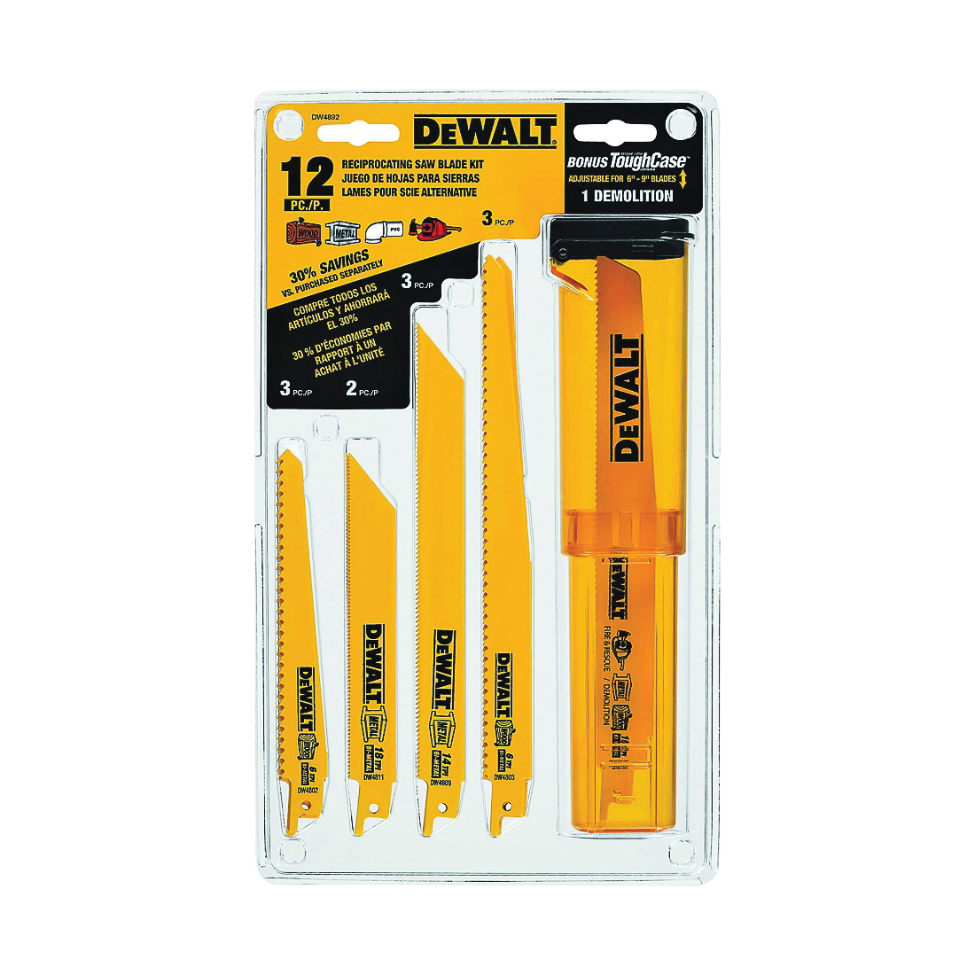 Picture of DeWALT DW4892 Reciprocating Saw Blade Set, 12 -Piece, Bi-Metal, Yellow