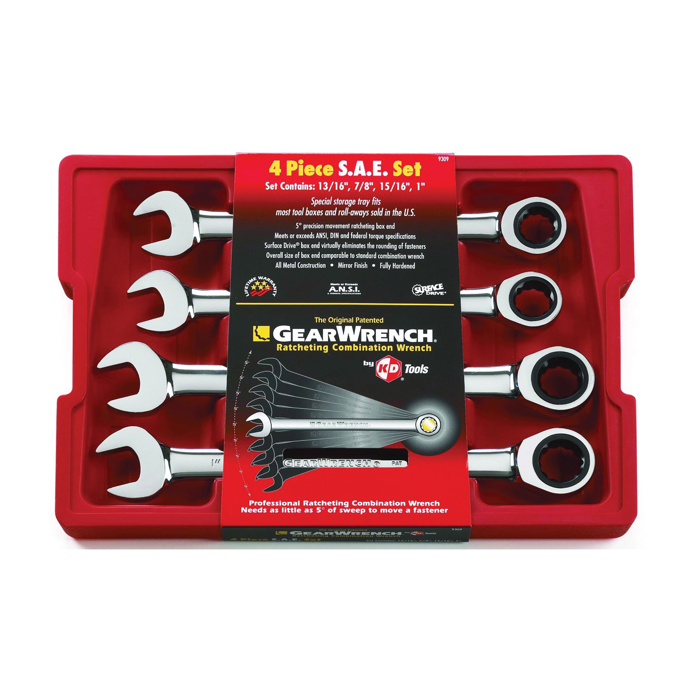 Picture of GearWrench 9309D Wrench Set, 4 -Piece, Steel, Polished Chrome, Specifications: SAE Measurement