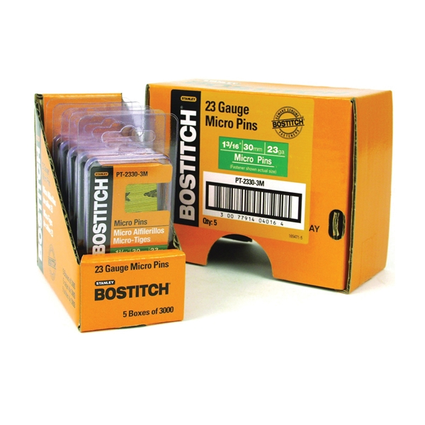 Picture of Bostitch PT-2330-3M Pin Nail, 0.64 in Dia, 1-3/16 in L, 23 ga Thick, Steel, Bright