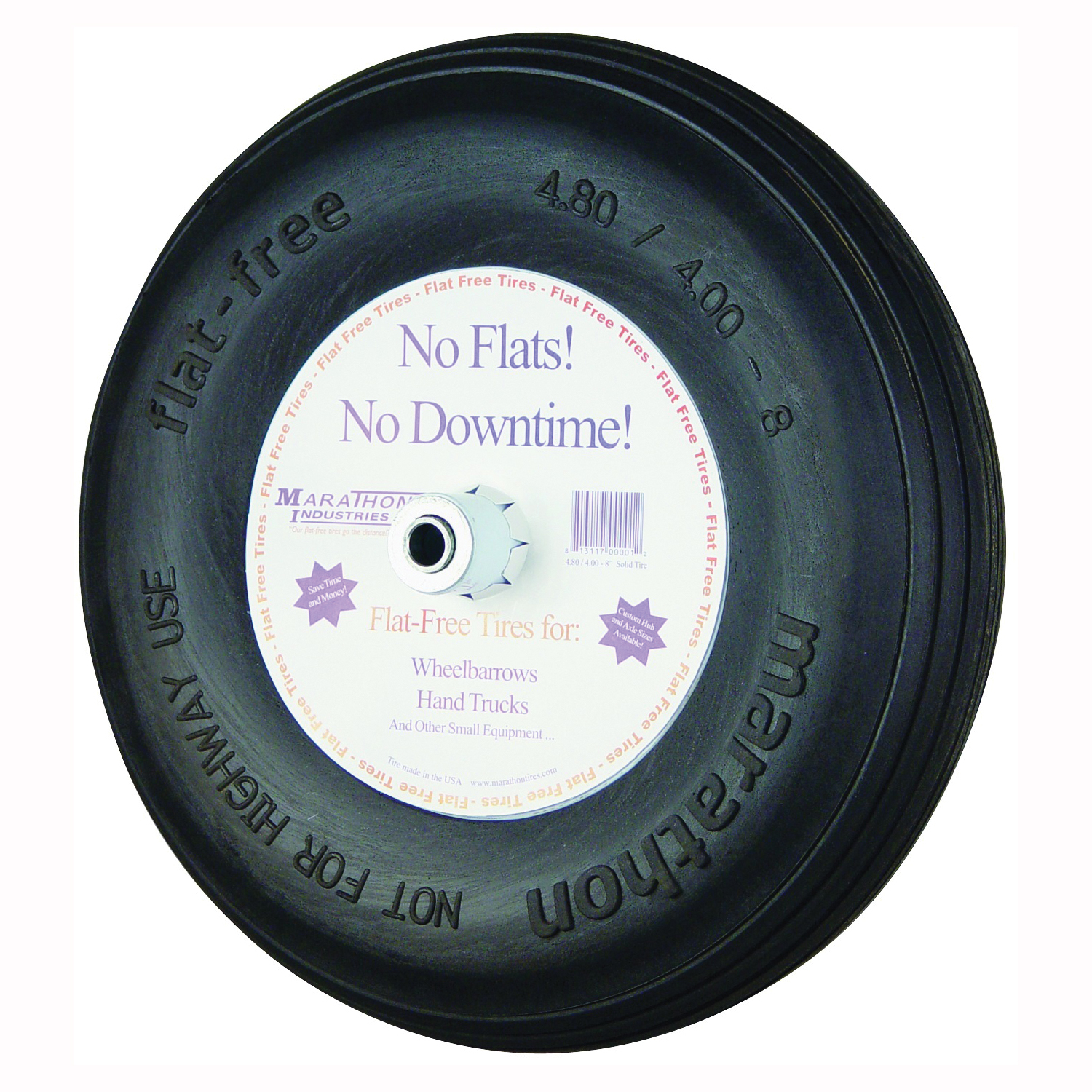 Picture of MTD 00001 Wheelbarrow Wheel, 4.8/4 x 8 in Tire, 15-1/2 in Dia Tire, Ribbed Tread, Polyurethane Tire, 6 in L Hub