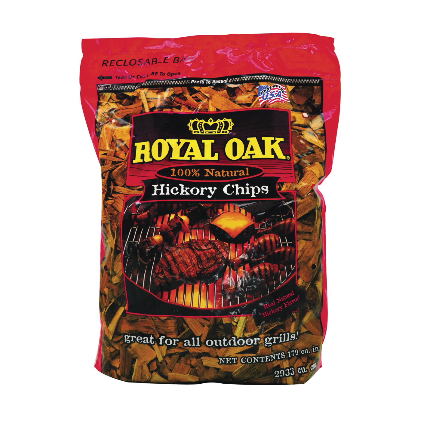 Picture of ROYAL OAK 199-300-095 Hickory Wood Chips, Wood, 2 lb Package, Bag