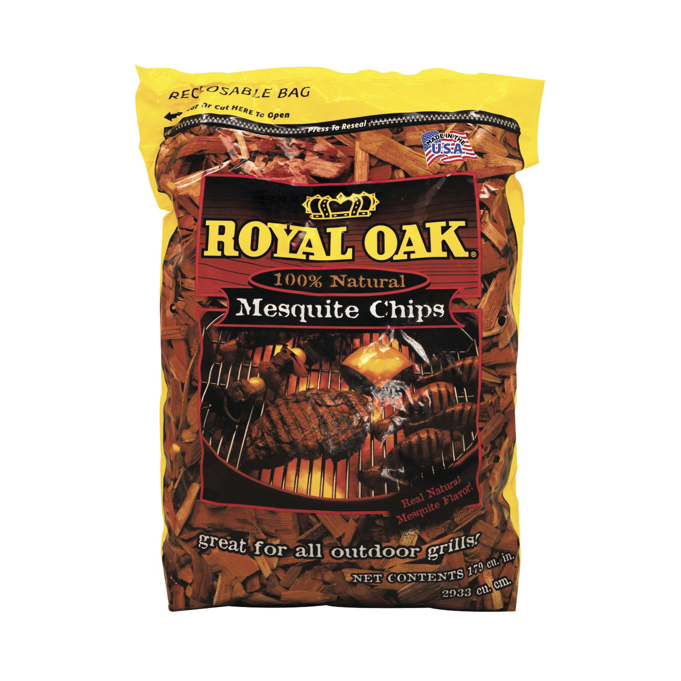 Picture of ROYAL OAK 199-301-095 Mesquite Wood Chips, Wood, 2 lb Package, Bag