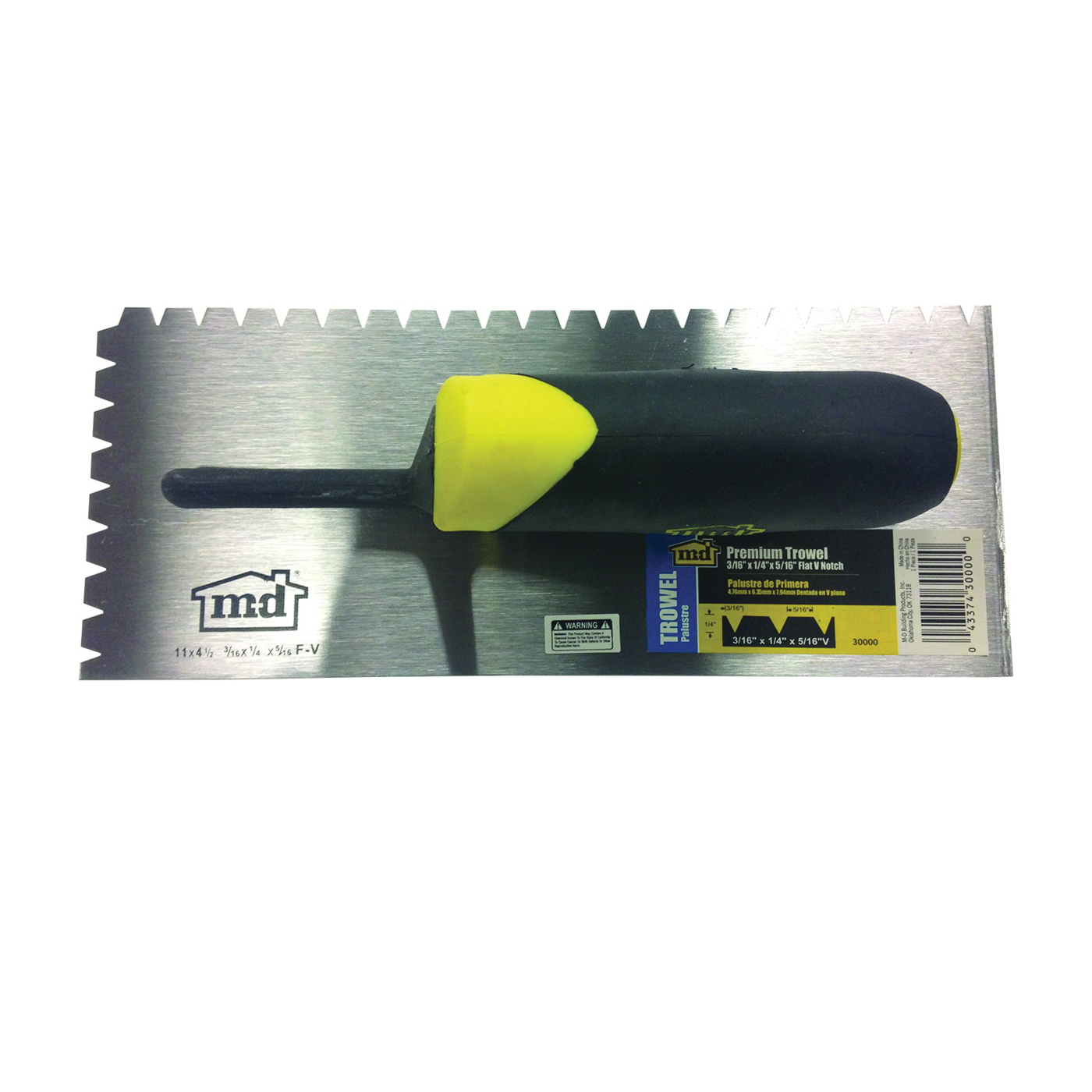 Picture of M-D 30000 Tile Installation Trowel, 11 in L, 4-1/2 in W, Flat V Notch, Comfort-Grip Handle