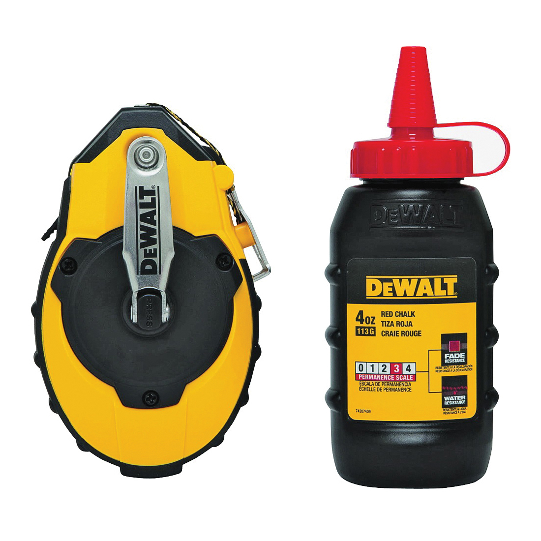 Picture of DeWALT DWHT47374L/144 Chalk Reel Kit, 100 ft L Line, Red Line, 3:1 Gear Ratio