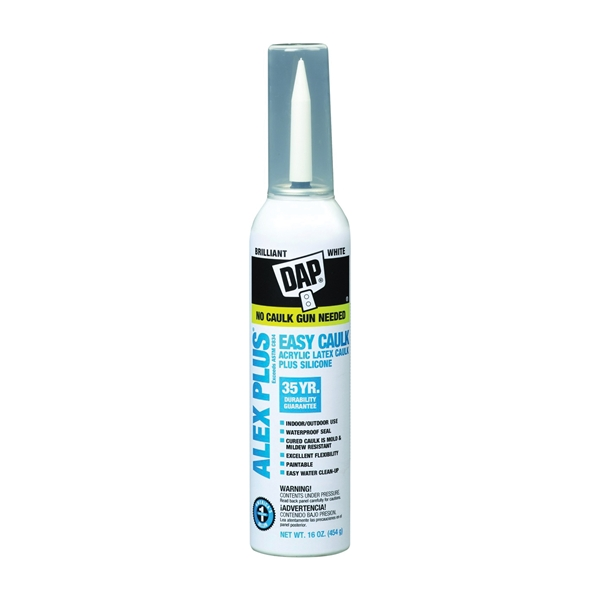 Picture of DAP ALEX PLUS 18736 Acrylic Latex Caulk with Silicone, White, -20 to 180 deg F, 16 oz Package, Aerosol Can