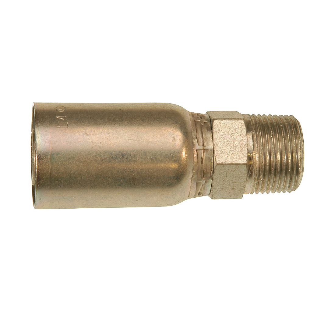 Picture of GATES MegaCrimp G25100-0402 Hose Coupling, 1/8-27, Crimp x NPTF, Straight Angle, Steel, Zinc
