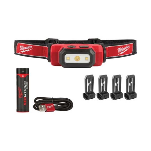 Picture of Milwaukee 2111-21 Headlamp, Lithium Battery, LED Lamp, 475 Lumens, 31 hr Run Time, Red