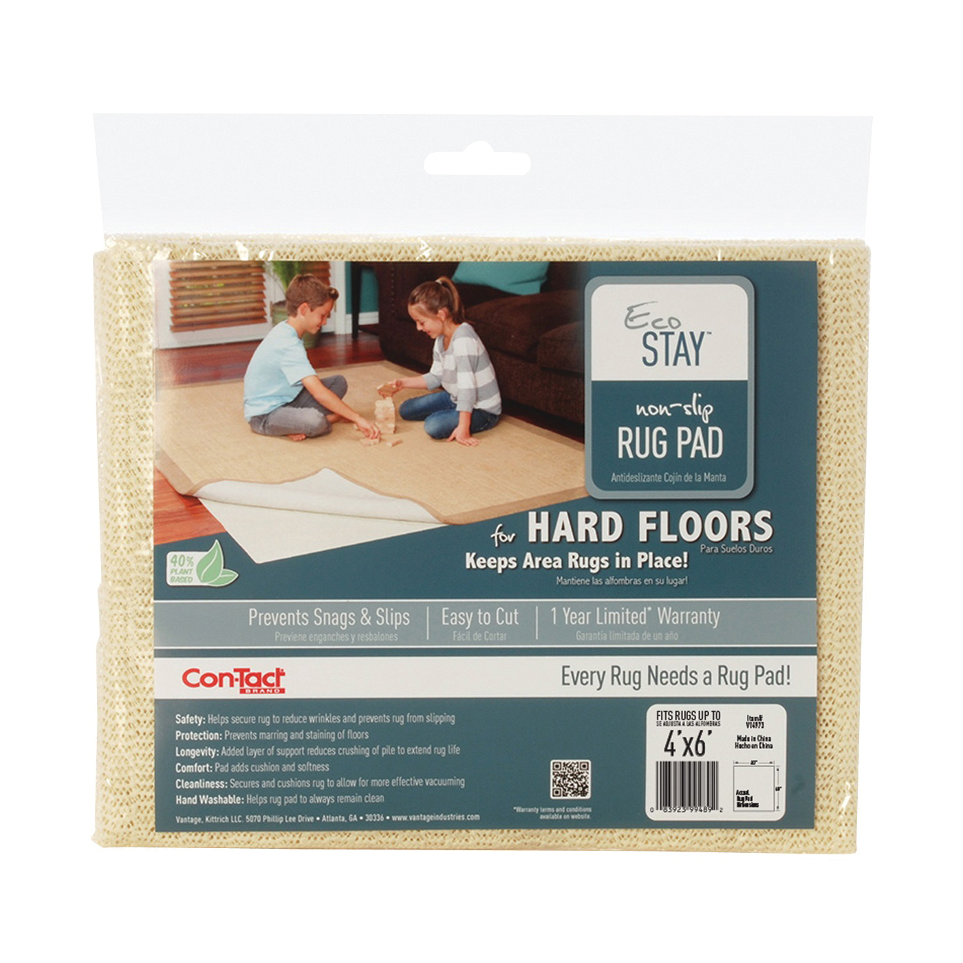 Picture of Con-Tact Eco-Stay V14973 Rug Pad, 6 ft L, 4 ft W, Non-Slip Surface, Polyester