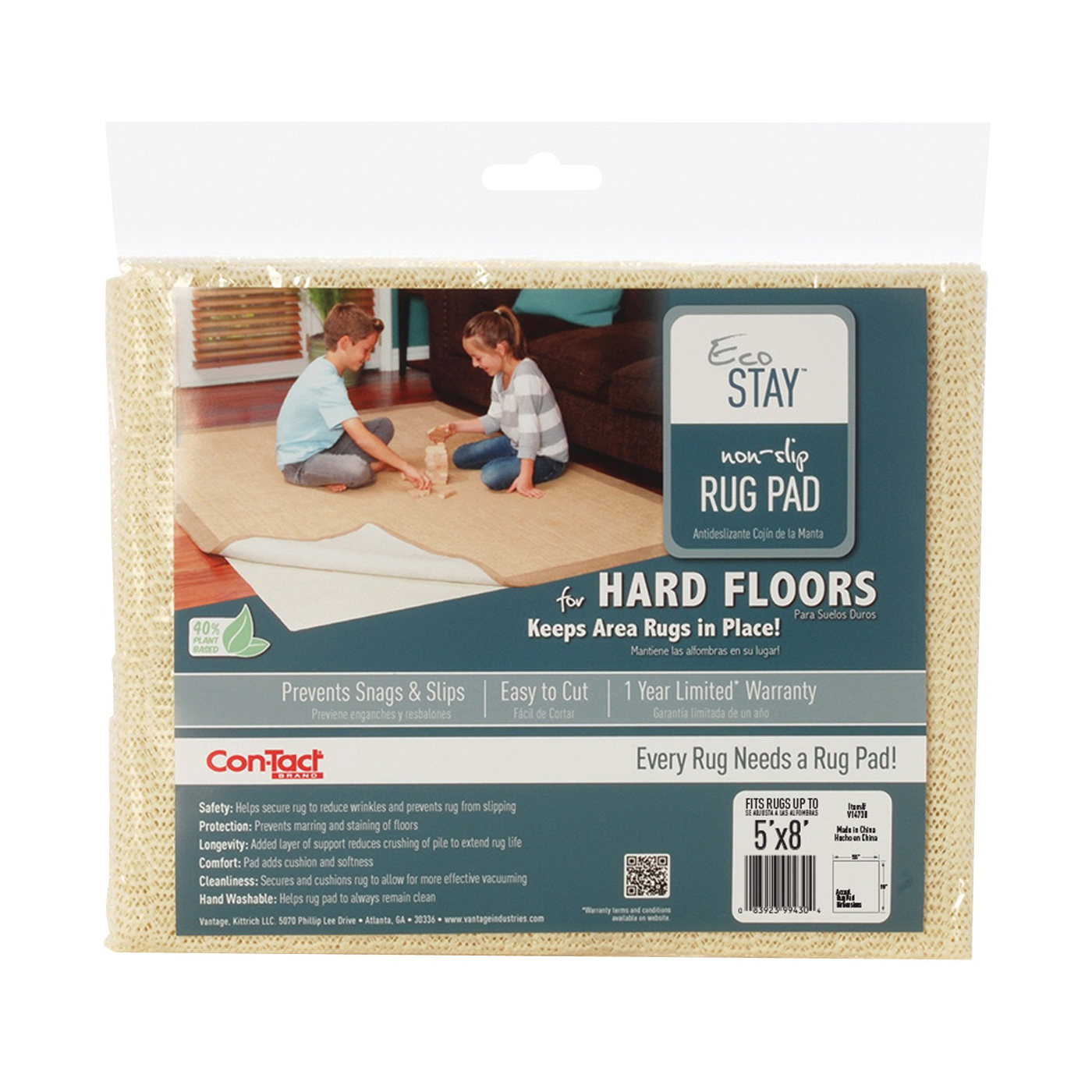 Picture of Con-Tact Eco-Stay V14738 Rug Pad, 8 ft L, 5 ft W, Non-Slip Surface, Polyester