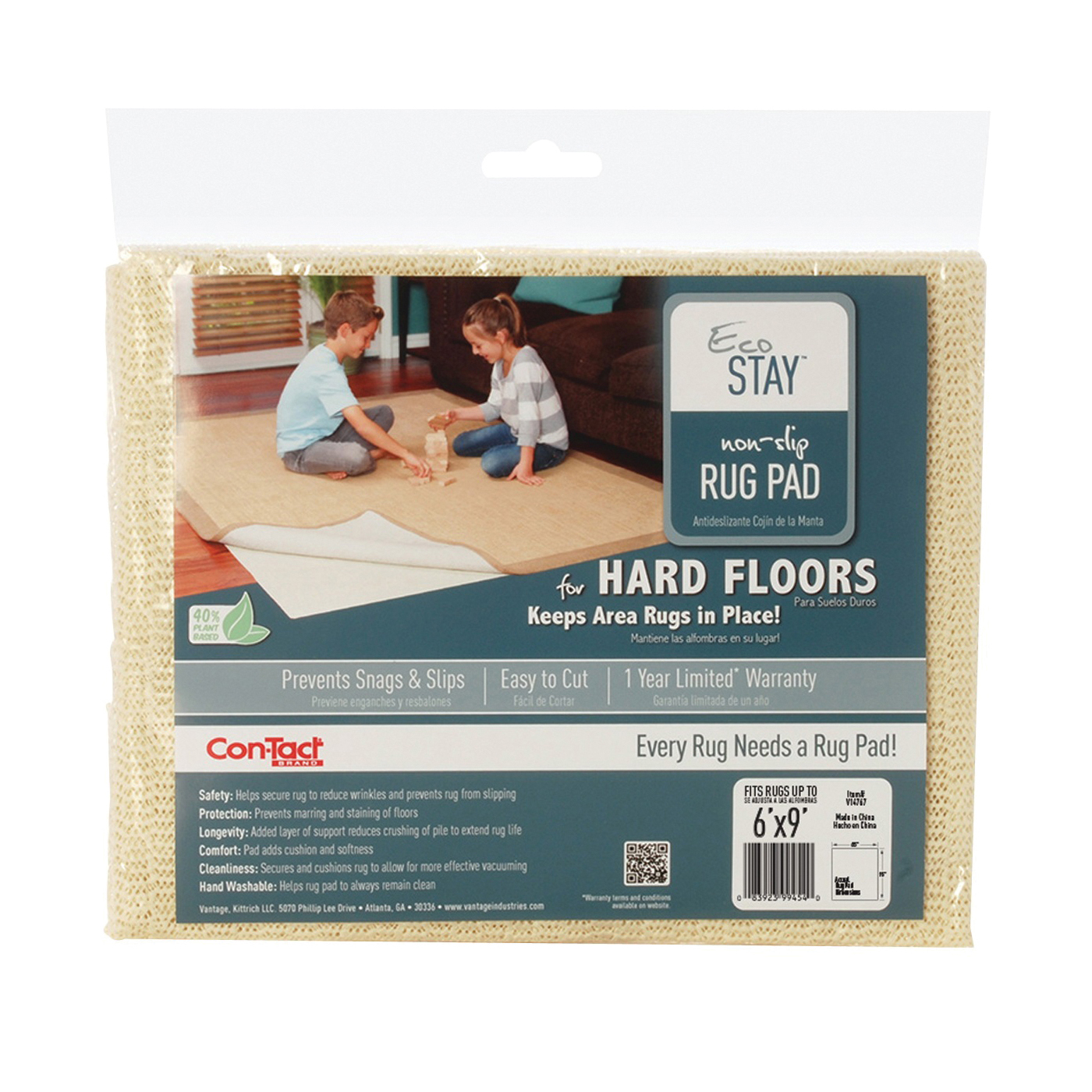 Picture of Con-Tact Eco-Stay V14767 Rug Pad, 9 ft L, 6 ft W, Non-Slip Surface, Polyester
