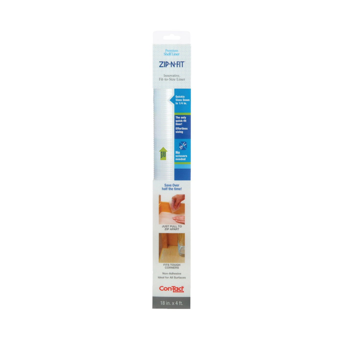 Picture of Con-Tact 04F-CZ8S01-06 Ribbed Shelf Liner, 4 ft L, 18 in W, Clear