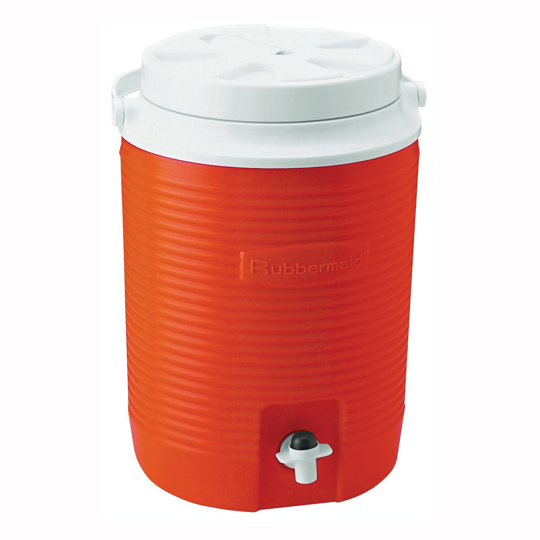 Picture of Rubbermaid Victory 1530-04-11 Water Cooler Jug, 2 gal Capacity, Polyethylene, Orange