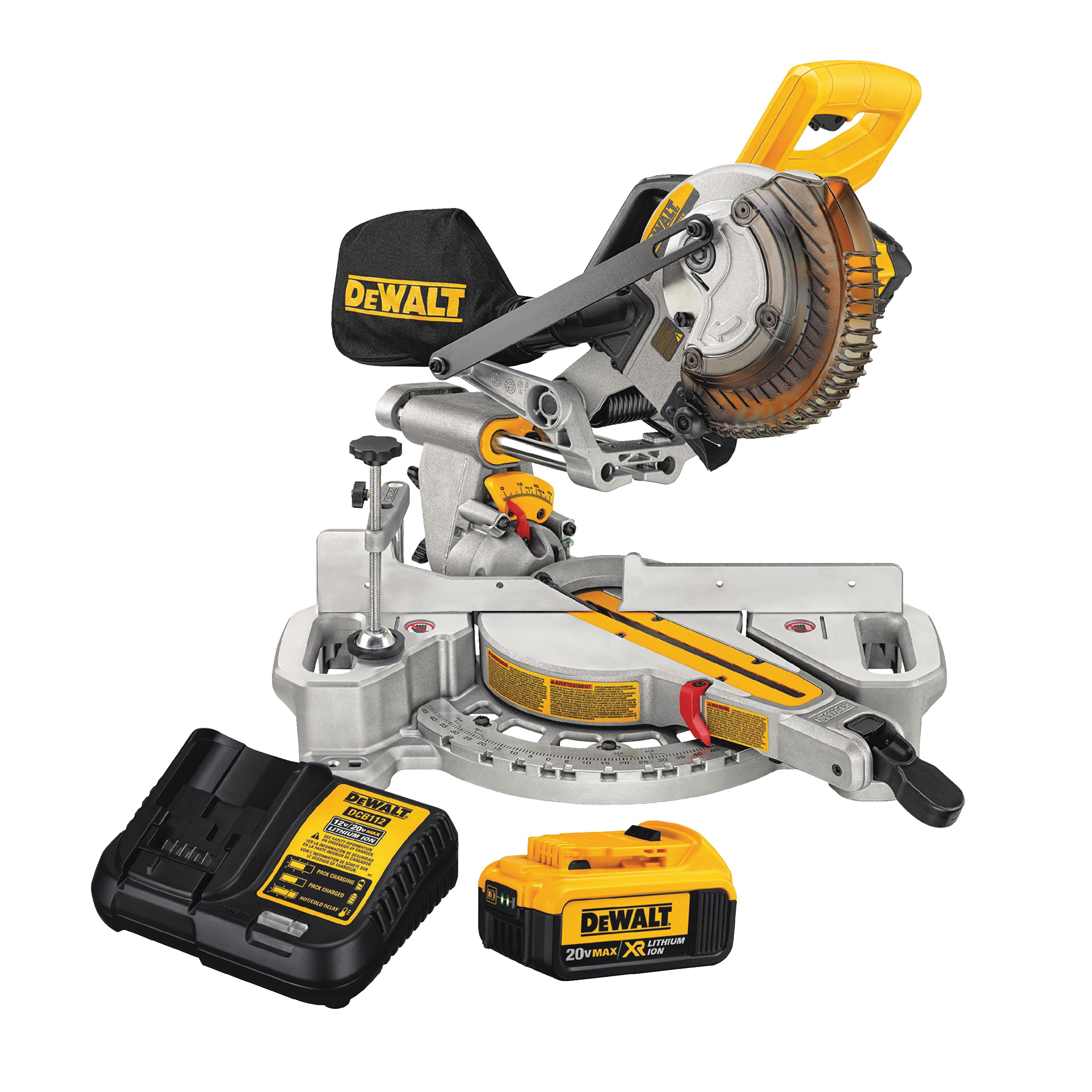 Picture of DeWALT DCS361M1 Sliding Miter Saw, Battery, 7-1/4 in Dia Blade, 3750 rpm Speed, 45 deg Max Miter Angle