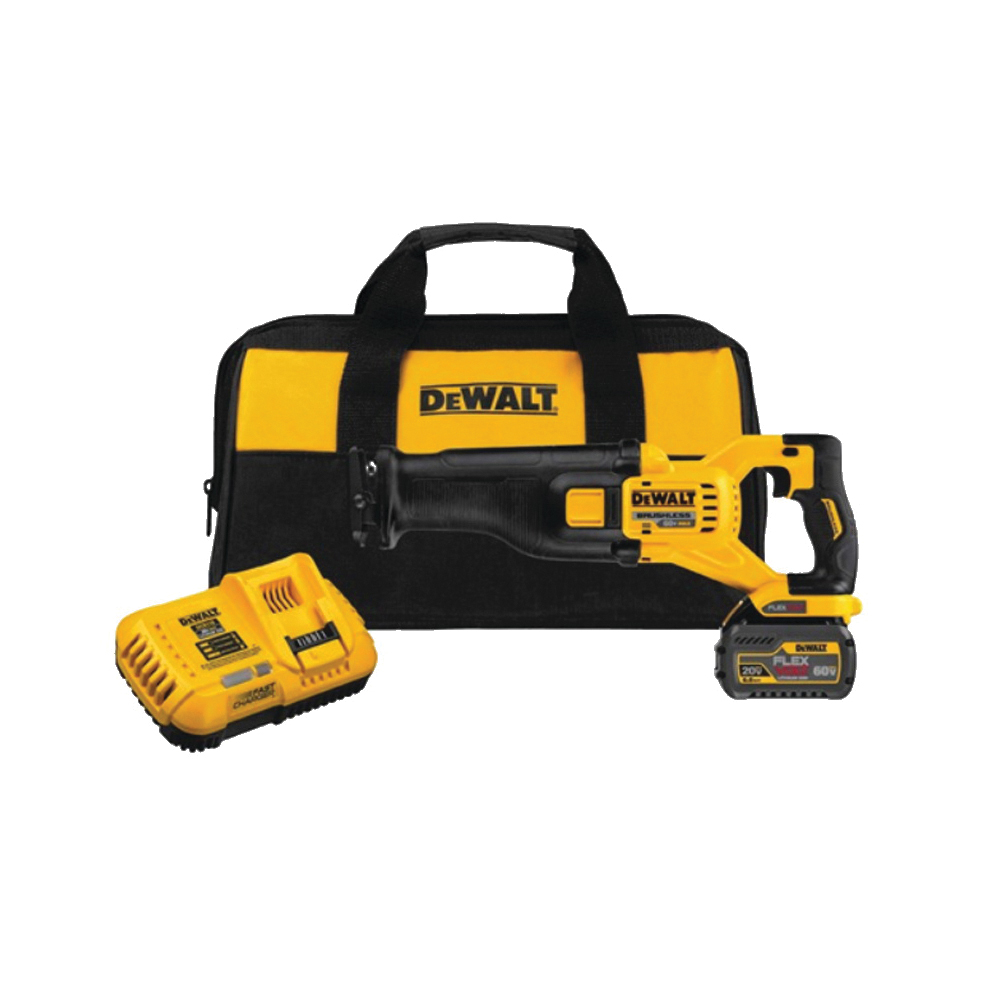 Picture of DeWALT DCS388T1 Reciprocating Saw Kit, Kit, 60 V Battery, 6 Ah, 1-1/8 in L Stroke, 0 to 3000 SPM