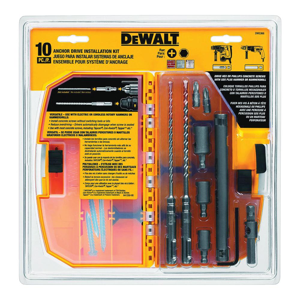 Picture of DeWALT DW5366 Anchor Drive Installation Kit, 10 -Piece, Carbide