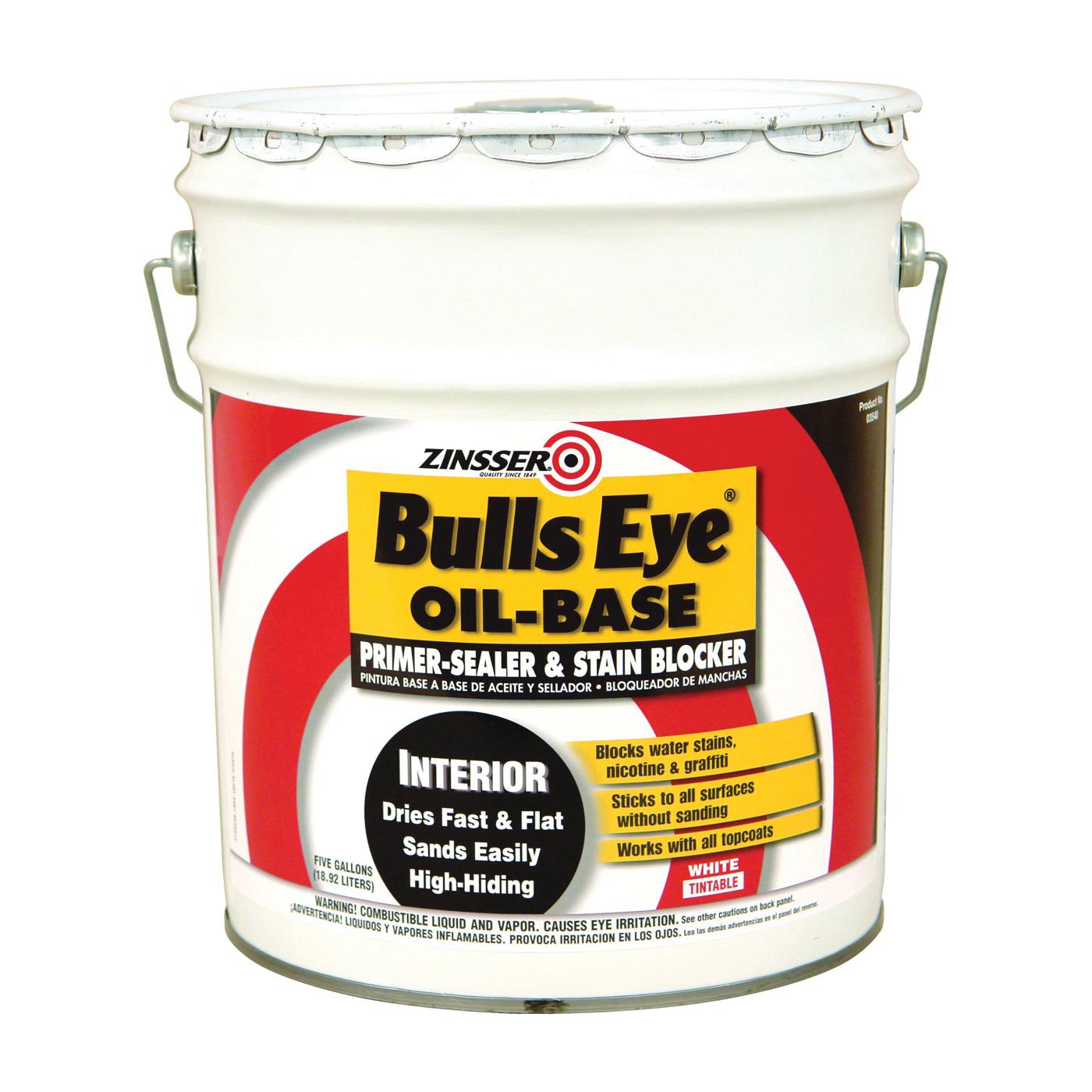 Picture of ZINSSER Bulls Eye 03540 Primer Sealer and Stain Killer, Flat, White, 5 gal