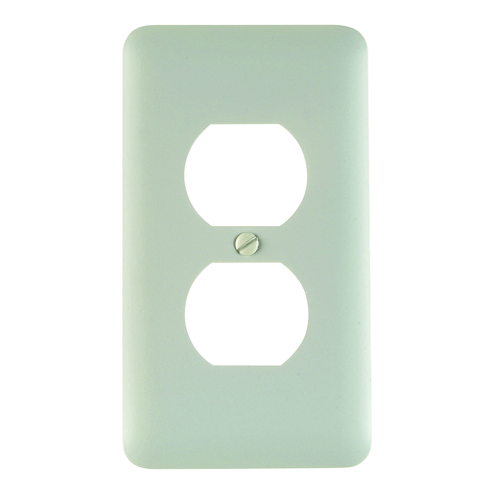 Picture of Amerelle 935DW Duplex Receptacle Wallplate, 5 in L, 2-13/16 in W, 1-Gang, Steel, White