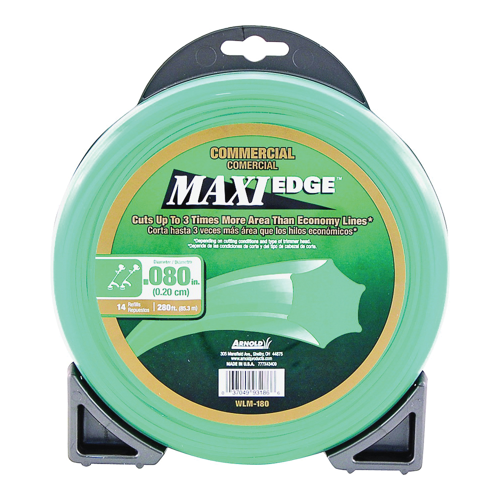 Picture of ARNOLD Maxi Edge WLM-180 Trimmer Line, 0.08 in Dia, 280 ft L, Polymer, Green
