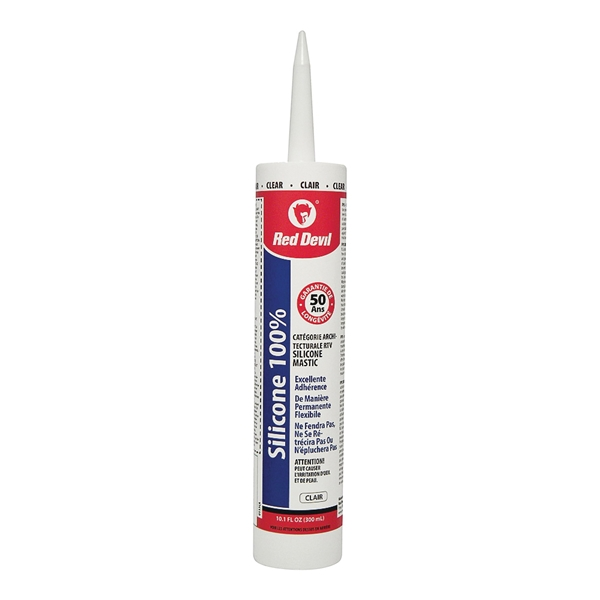 Picture of Red Devil 00113CA Silicone Sealant Caulk, Clear, 9 oz Package, Cartridge