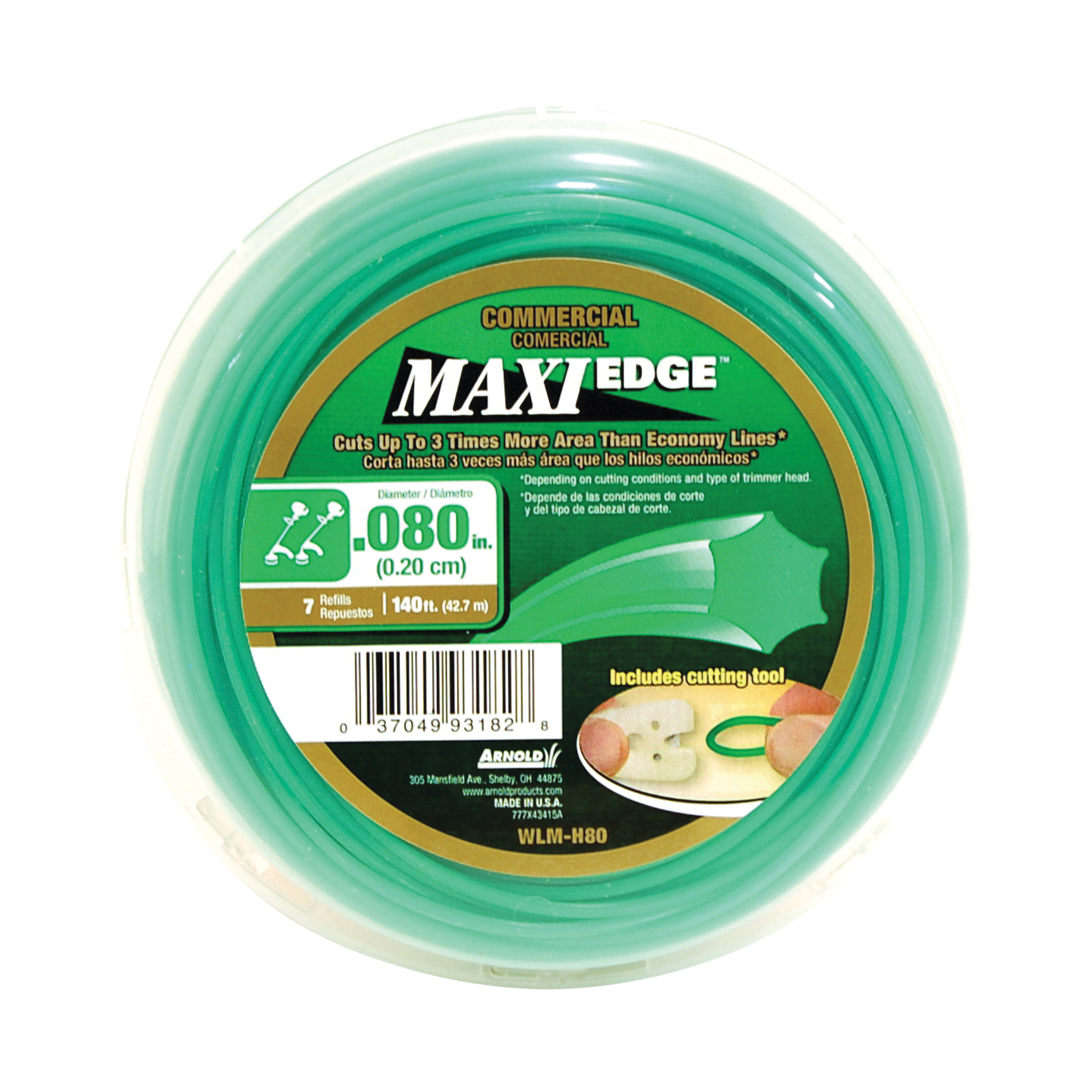 Picture of ARNOLD Maxi Edge WLM-H80 Trimmer Line, 0.08 in Dia, 140 ft L, Polymer, Green