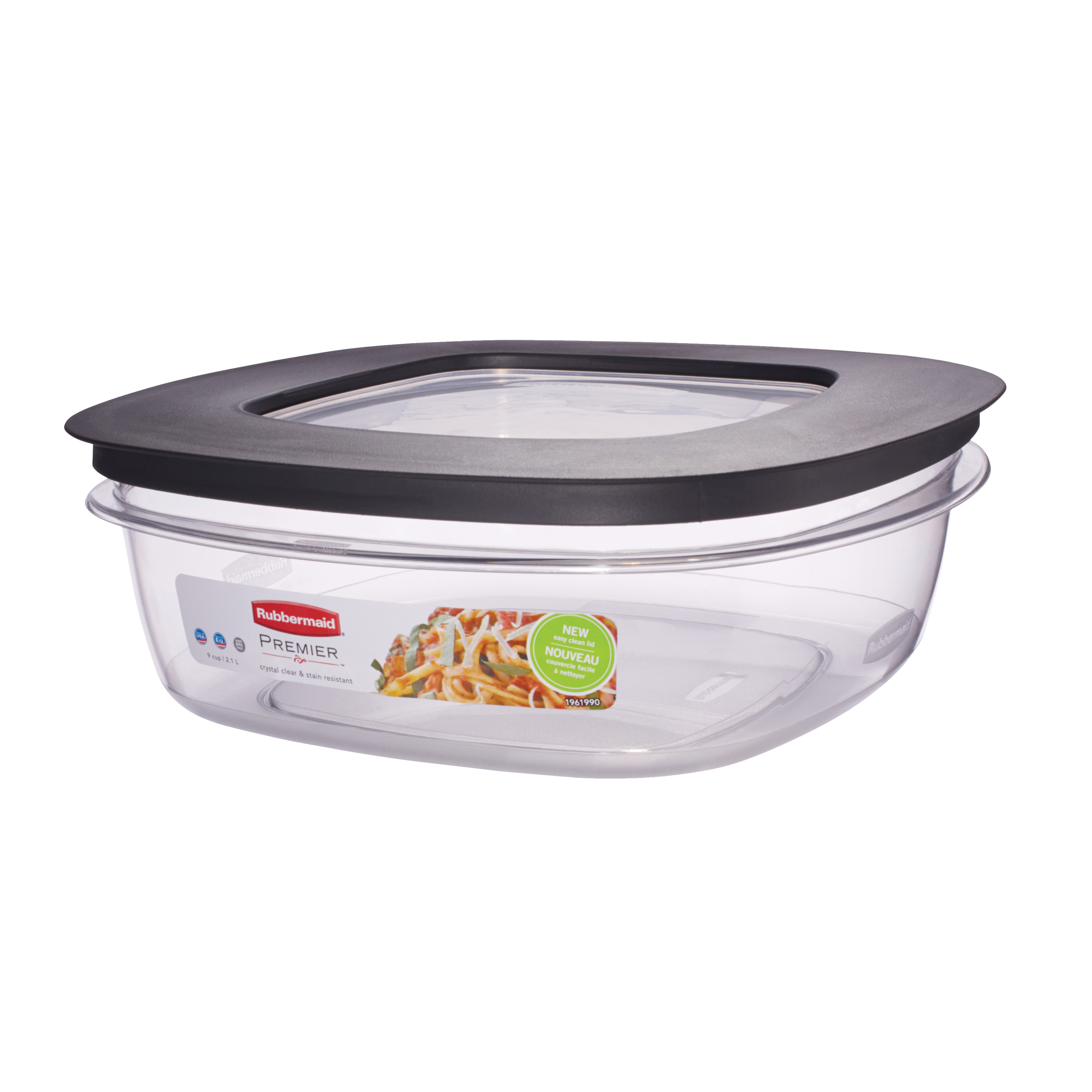 Picture of Rubbermaid Take Alongs 1937692 Food Storage Container, 9 Cups Capacity, Clear, 11 in L, 9 in W, 9 in H