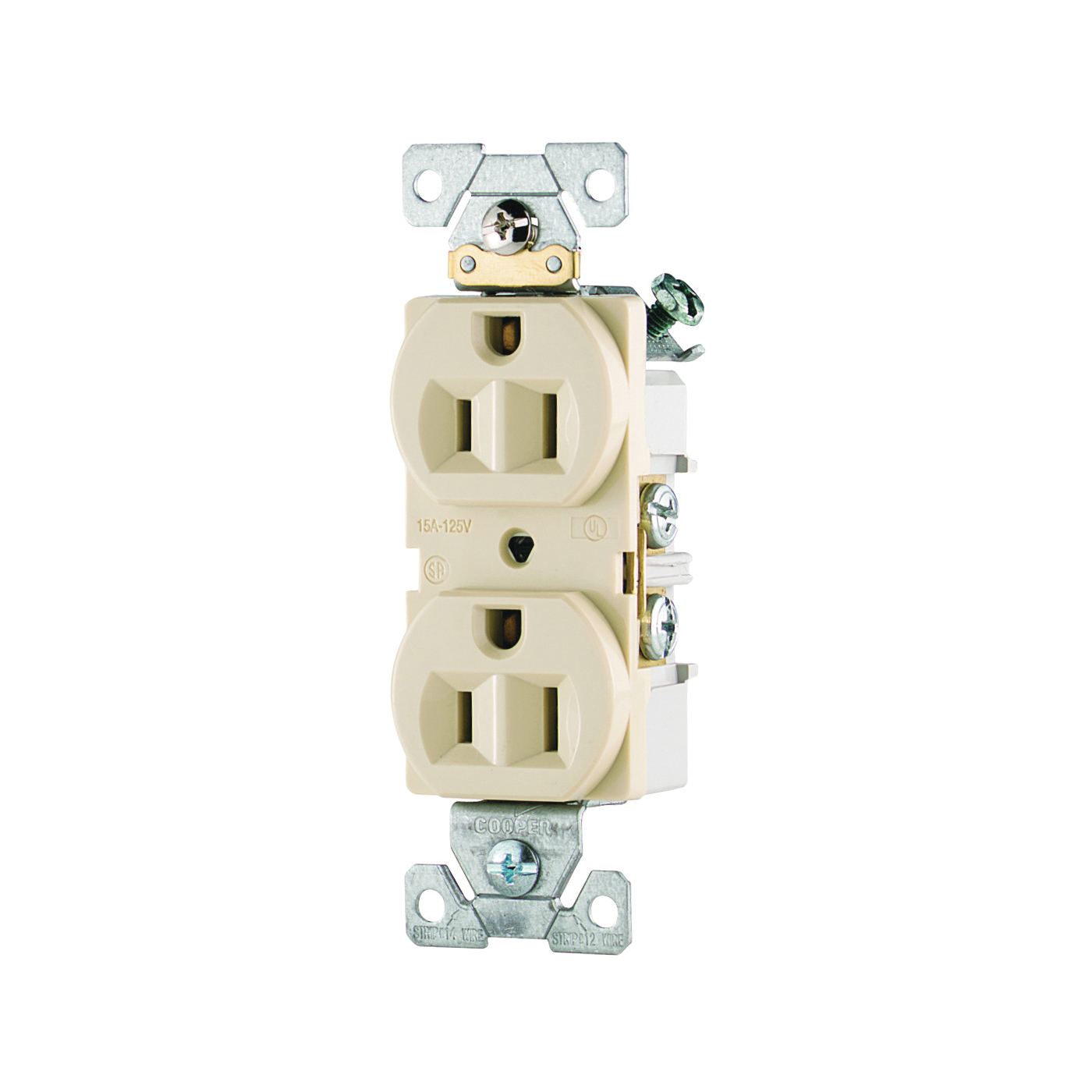 Picture of Eaton Wiring Devices CR15V Duplex Receptacle, 2-Pole, 15 A, 125 V, Side Wiring, NEMA: 5-15R, Ivory