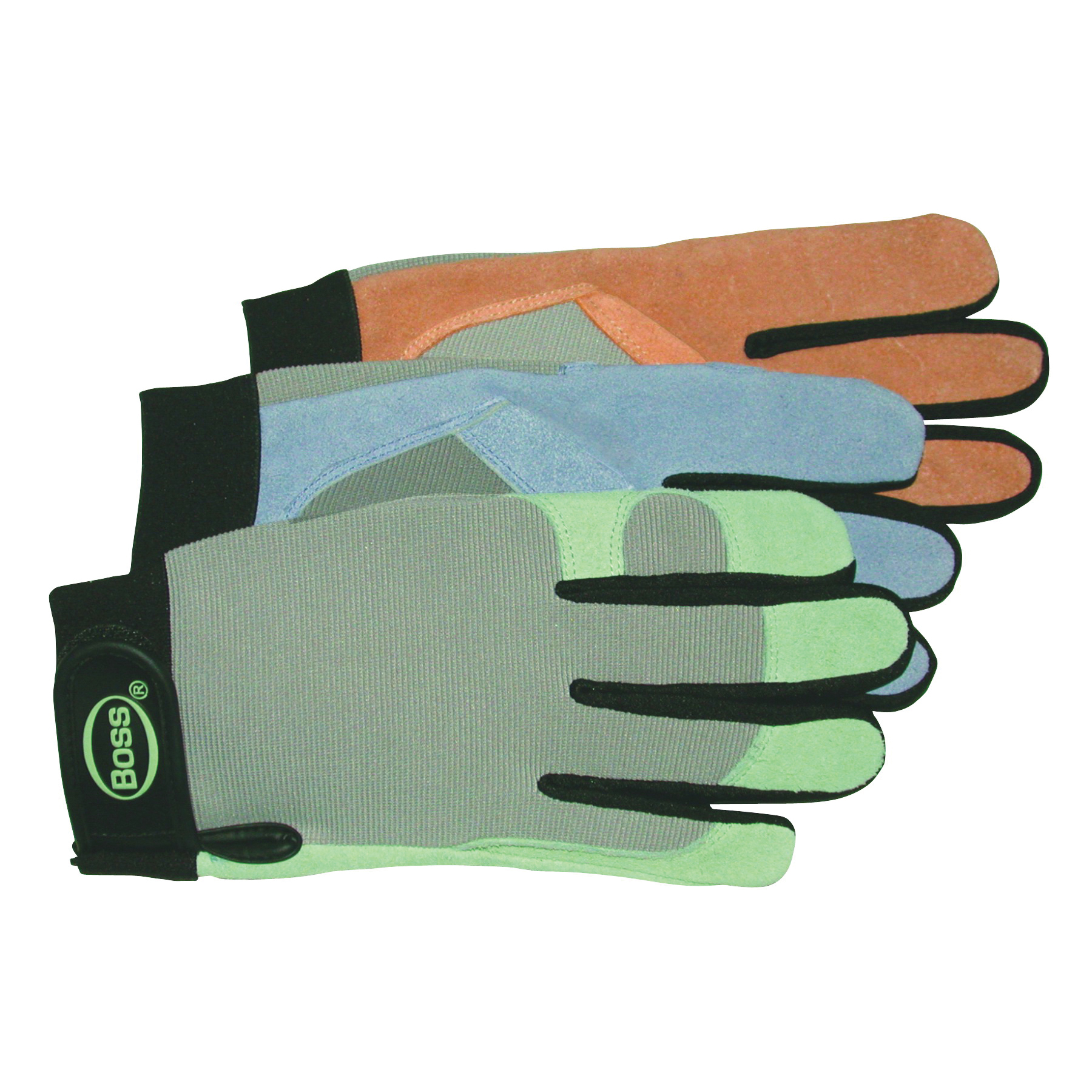 Picture of BOSS 790 Protective Gloves, Women's, M, Keystone Thumb, Elastic Cuff, Cowhide Leather, Green/Pink/Purple