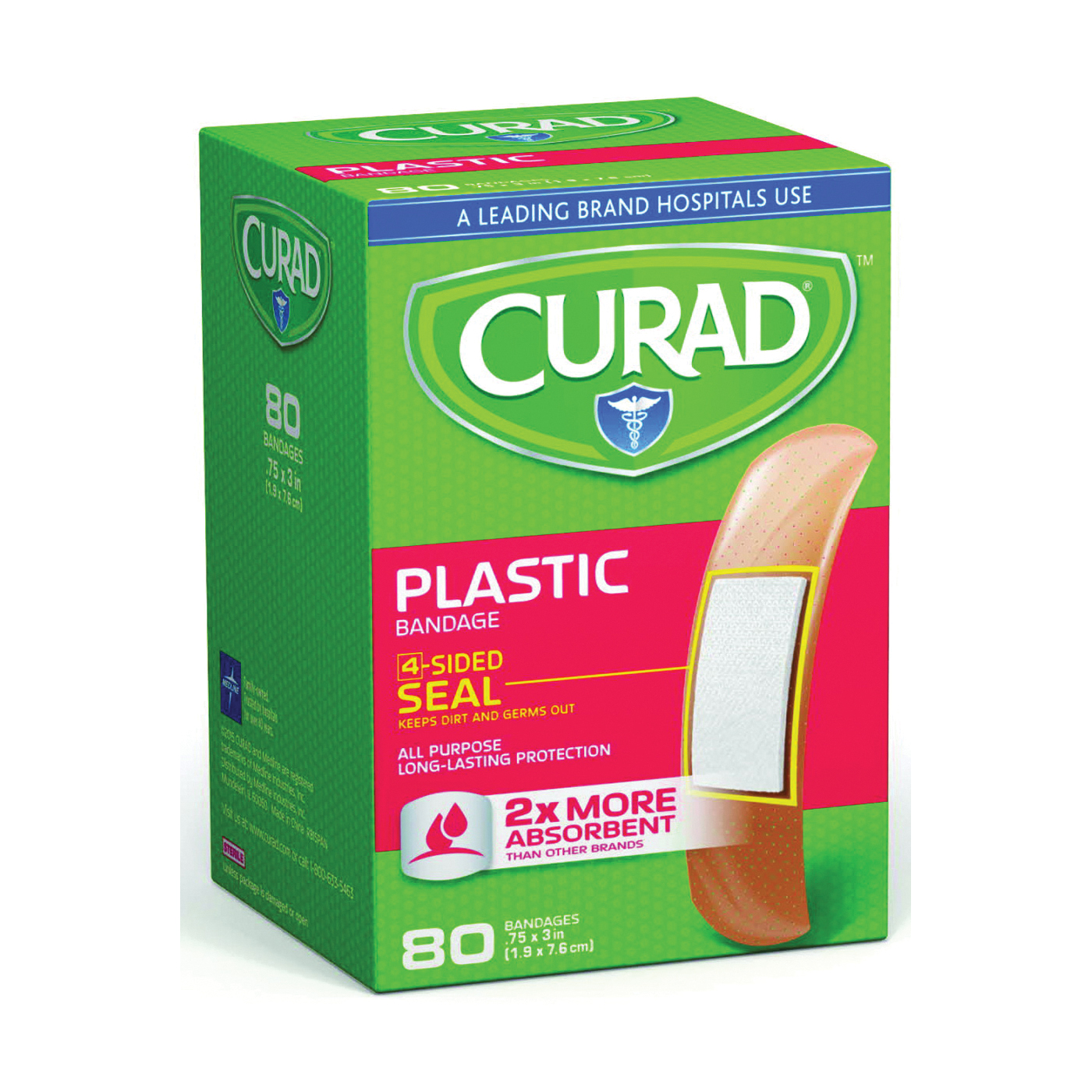 Picture of CURAD CUR02278RB Adhesive Bandage, 3/4 in W, 3 in L, Plastic Bandage, 24, Case