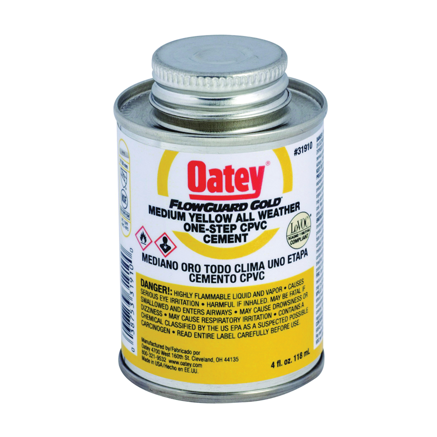 Picture of Oatey 31911 Solvent Cement, 8 oz, Can, Liquid, Yellow