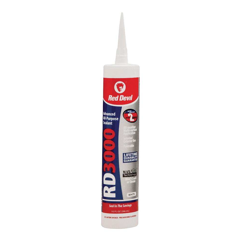 Picture of Red Devil 0986 Advanced Sealant, White, 1 day Curing, 20 to 120 deg F, 9 oz Package, Cartridge