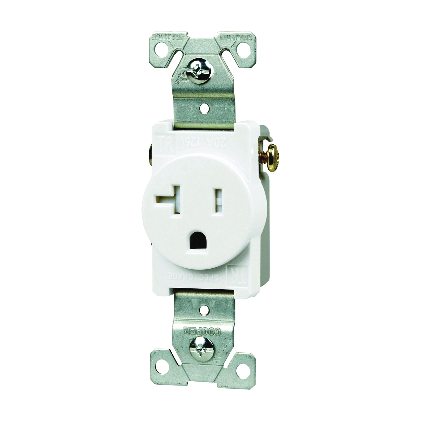 Picture of Eaton Wiring Devices TR1877W-BXSP Single Receptacle, 2-Pole, 125 V, 20 A, Side Wiring, NEMA 5-20R, White