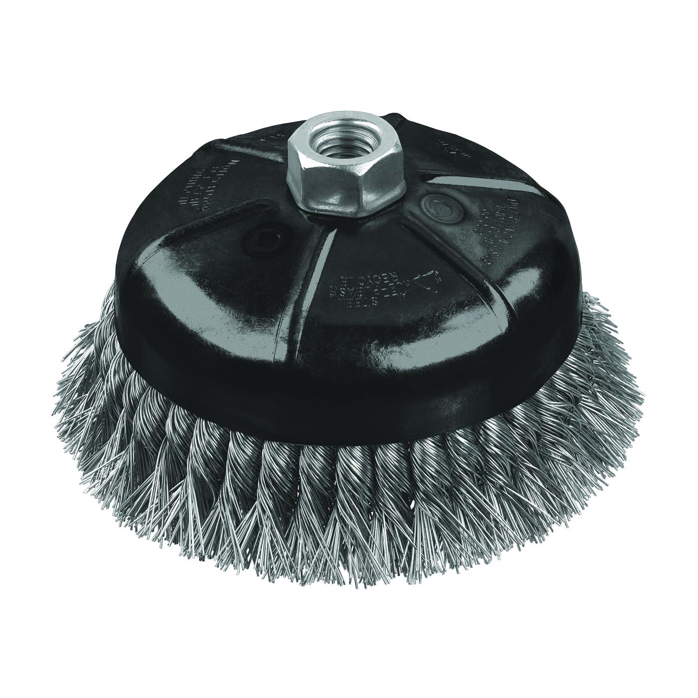 Picture of DeWALT DW4916 Wire Cup Brush, 3 in Dia, 5/8-11 Arbor/Shank, 0.02 in Dia Bristle