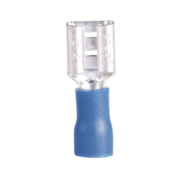 Picture of GB 10-143F Disconnect Terminal, 600 V, 16 to 14 AWG Wire, 1/4 in Stud, Vinyl Insulation, Blue, 100/Clam