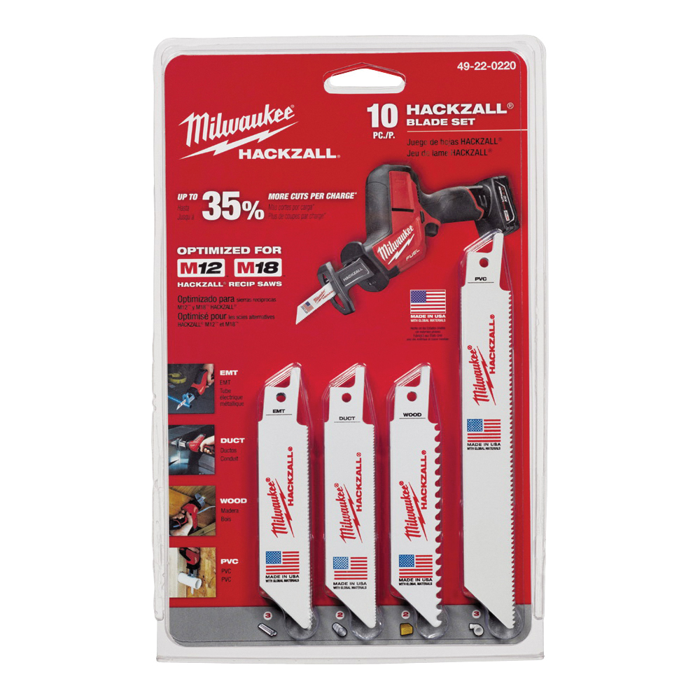 Picture of Milwaukee 49-22-0220 Reciprocating Saw Blade Set, 10 -Piece, Bi-Metal, White, Bright