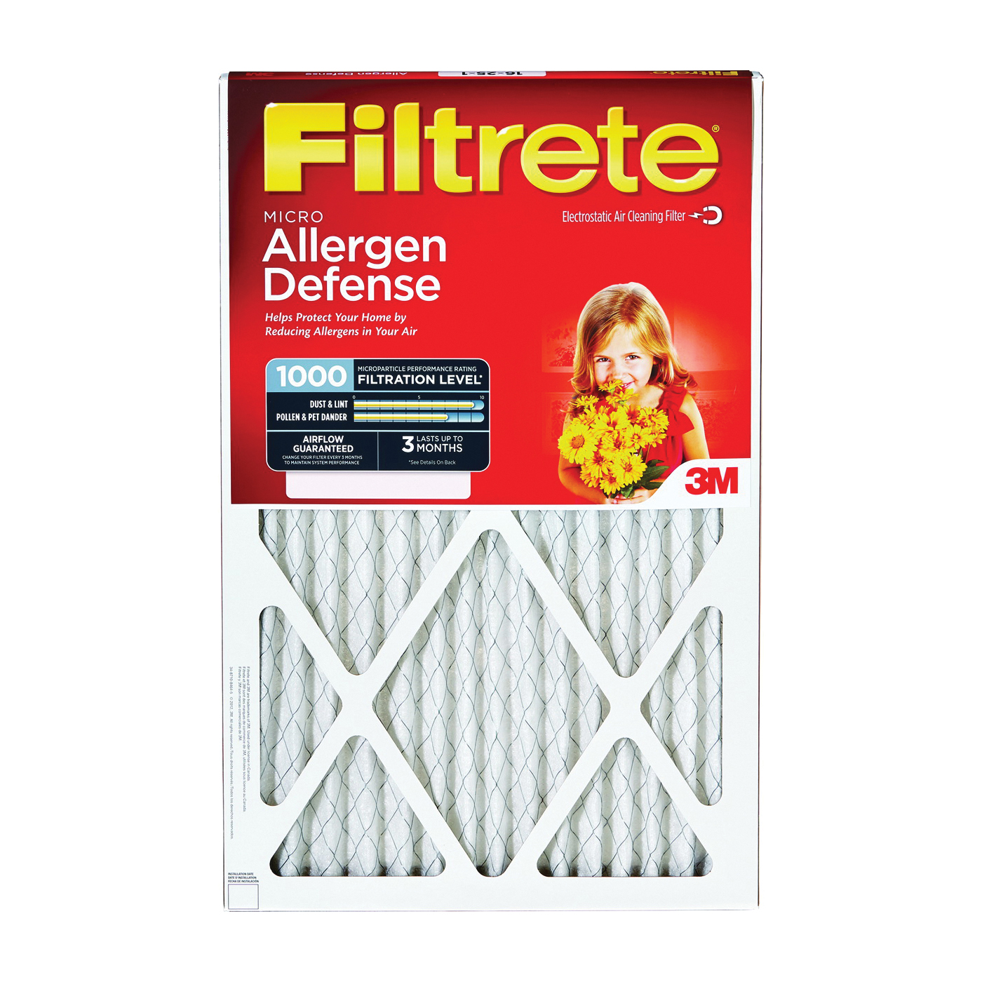 Picture of Filtrete 9807DC-6 Washable Air Filter, 20 in L, 10 in W, 11 MERV, 90 % Filter Efficiency, Cardboard Frame, White