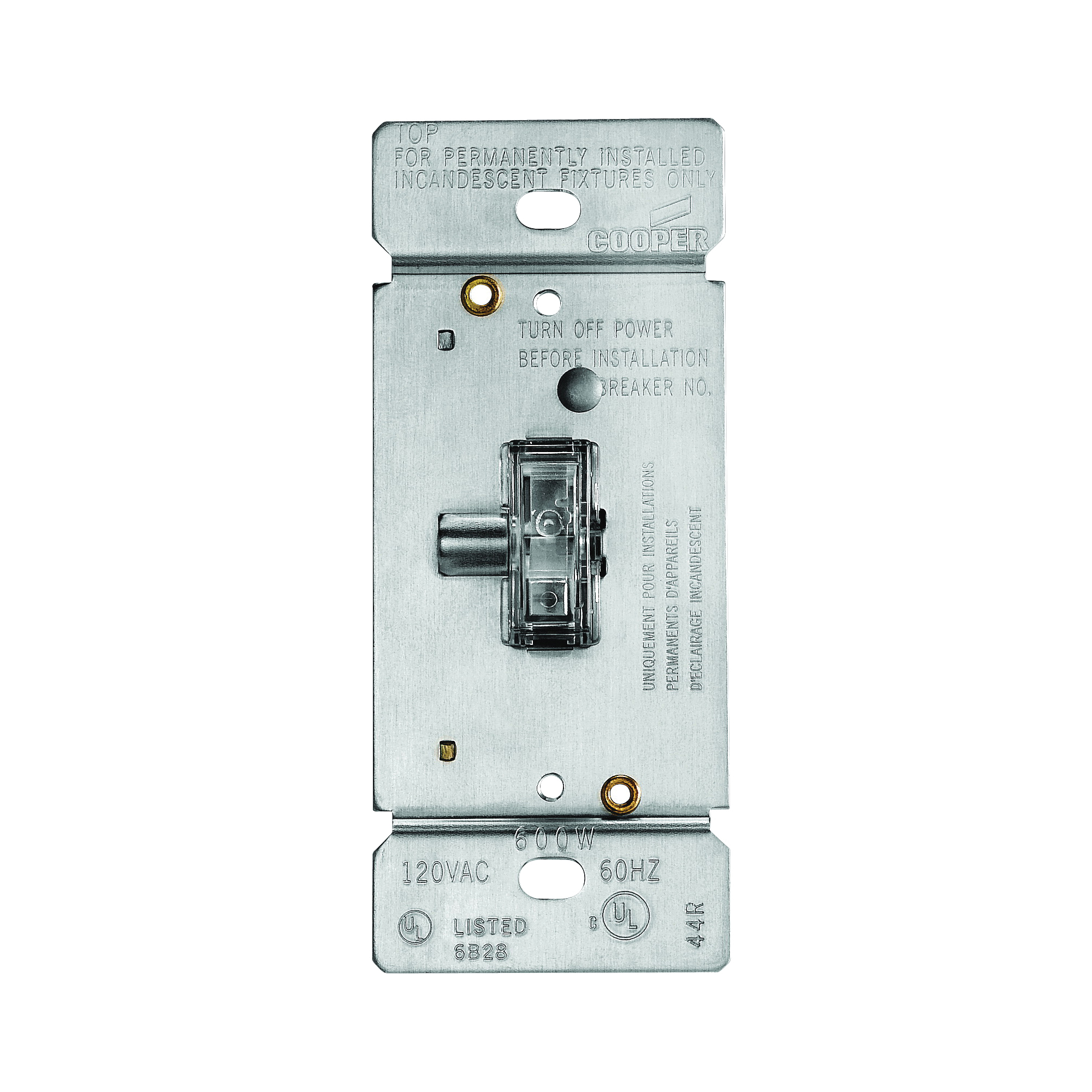 Picture of Eaton Wiring Devices TI306L-K Toggle Dimmer, 5 A, 120 V, 600 W, CFL, Halogen, Incandescent, LED Lamp, 3-Way, Clear