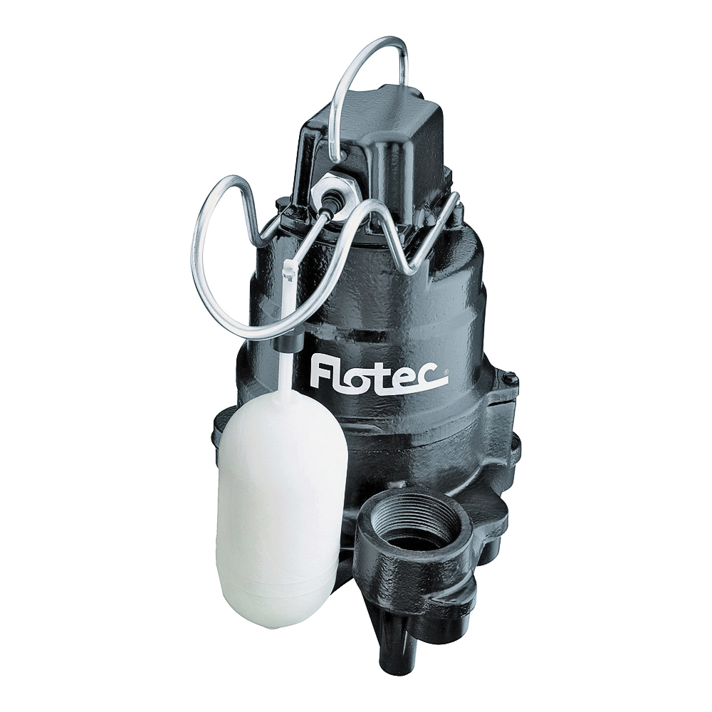 Picture of Flotec FPSC3350A Sump Pump, 1-Phase, 9.8 A, 115 V, 0.33 hp, 1-1/2 in Outlet, 24 ft Max Head, 2400 gph, Iron