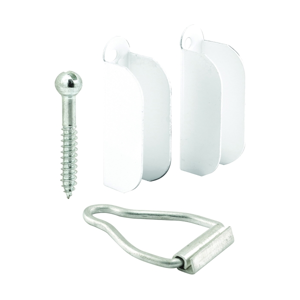 Picture of Make-2-Fit PL 8103 Top Hanger and Bottom Latch, Aluminum, Painted, White, For: 3/8 in Screen Frame