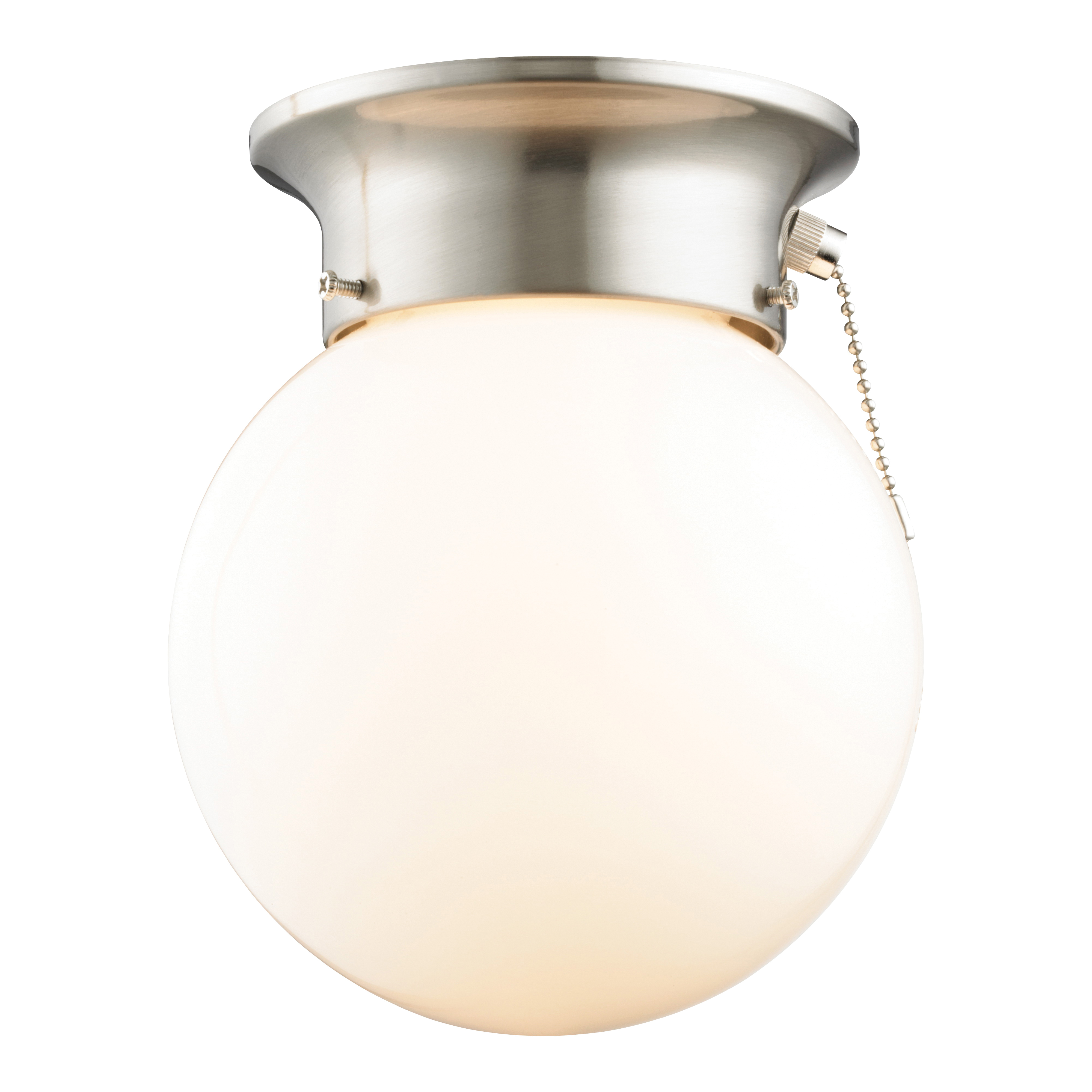 Picture of Boston Harbor F3015-3375-BN Ceiling Light Fixture, 60 W, 1-Lamp, CFL Lamp, Brushed Nickel Fixture