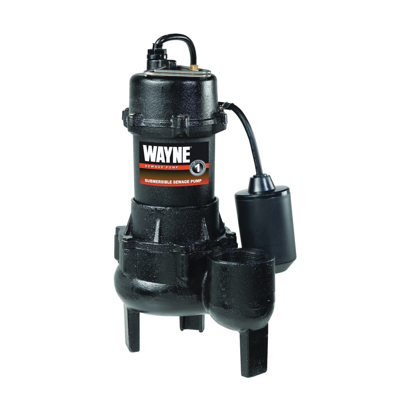 Picture of WAYNE RPP50/SEL50 Sewage Pump, 1-Phase, 15 A, 115 V, 0.5 hp, 2 in Outlet, 20 ft Max Head, 10,000 gph, Iron